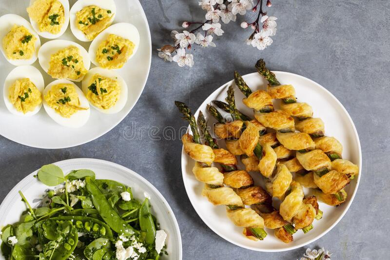Asparagus in puff pastry royalty free stock images