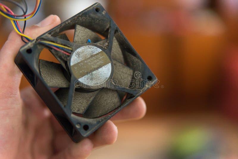 Aspas del ventilador del refrigerador del procesador del ordenador Opinión del primer fotografía de archivo libre de regalías