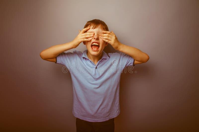 Aspect européen d'adolescent de garçon dans une chemise bleue images stock