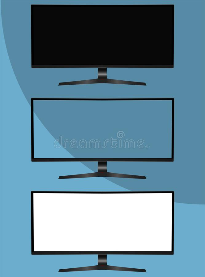 Computer monitor template. 21:9 aspect ratio curved gaming monitor mockup. Blank white and transparent screen royalty free illustration