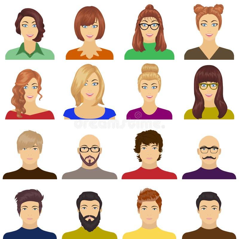 Aspecto de la muchacha en vidrios, de un individuo con un peinado, de un hombre calvo con una barba y de otras variedades de cara ilustración del vector