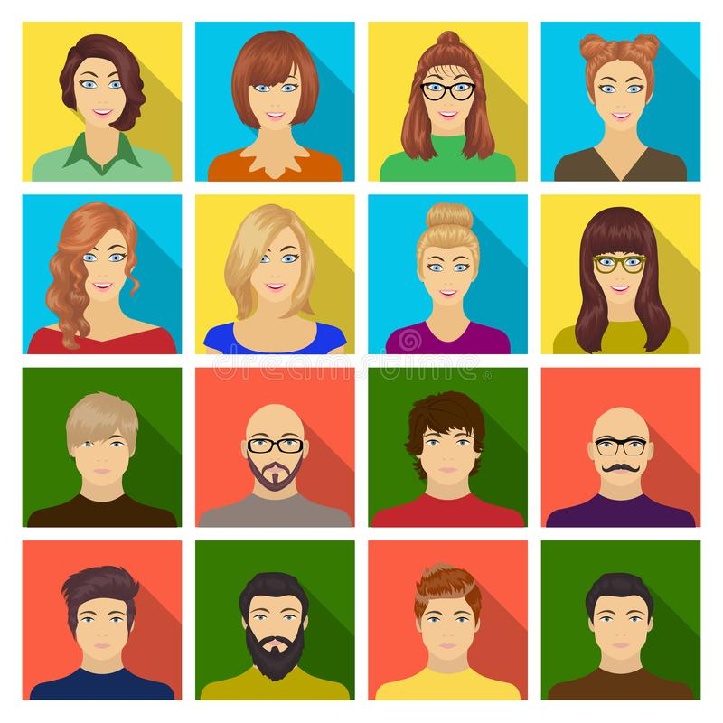 Aspecto de la muchacha en vidrios, de un individuo con un peinado, de un hombre calvo con una barba y de otras variedades de cara libre illustration