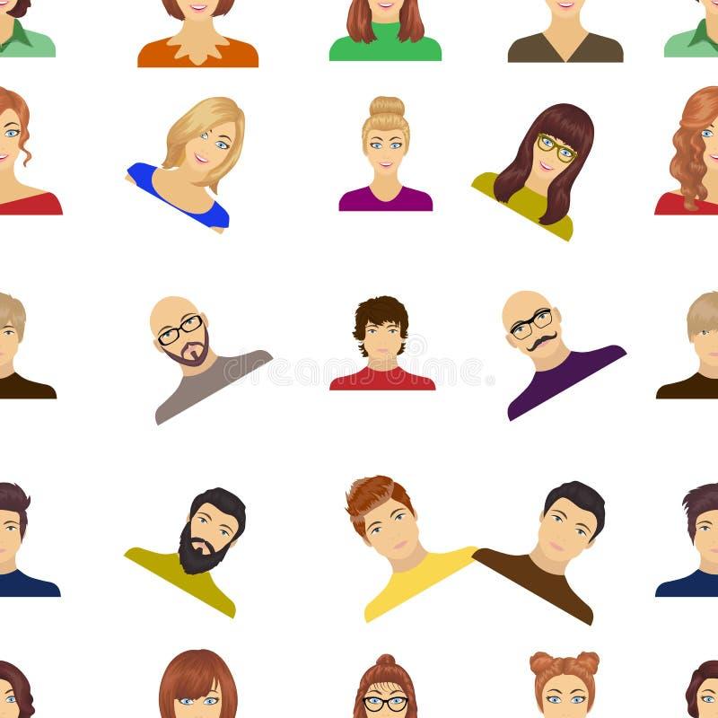 Aspecto de la muchacha en vidrios, de un individuo con un peinado, de un hombre calvo con una barba y de otras variedades de cara stock de ilustración