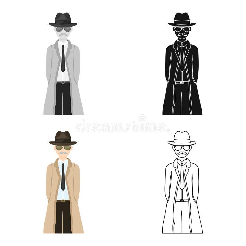 Aspecto del detective ilustración del vector