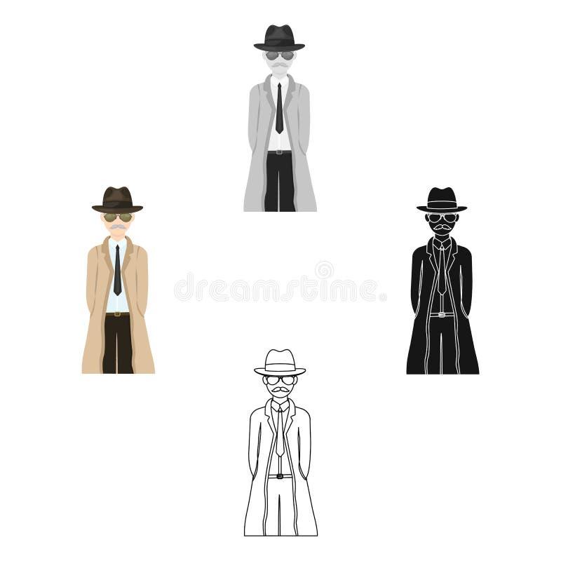 Aspecto del detective Detective del hombre en un solo icono del sombrero y del impermeable en la historieta, acción negra del sím stock de ilustración