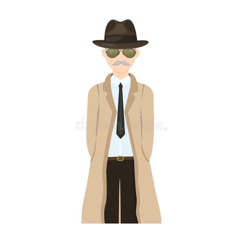 Aspecto del detective Sirva al detective en un solo icono del sombrero y del impermeable en la acción del símbolo del vector del  ilustración del vector