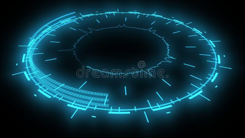 Aspecto futurista digital electrónico, representación 3d stock de ilustración