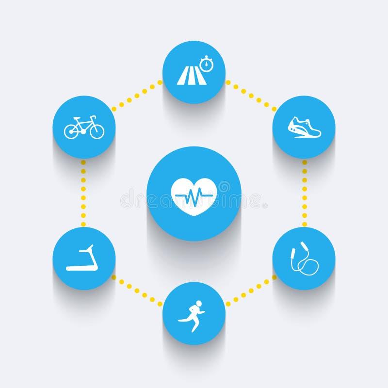 Aspects of cardio training, round blue icons stock illustration