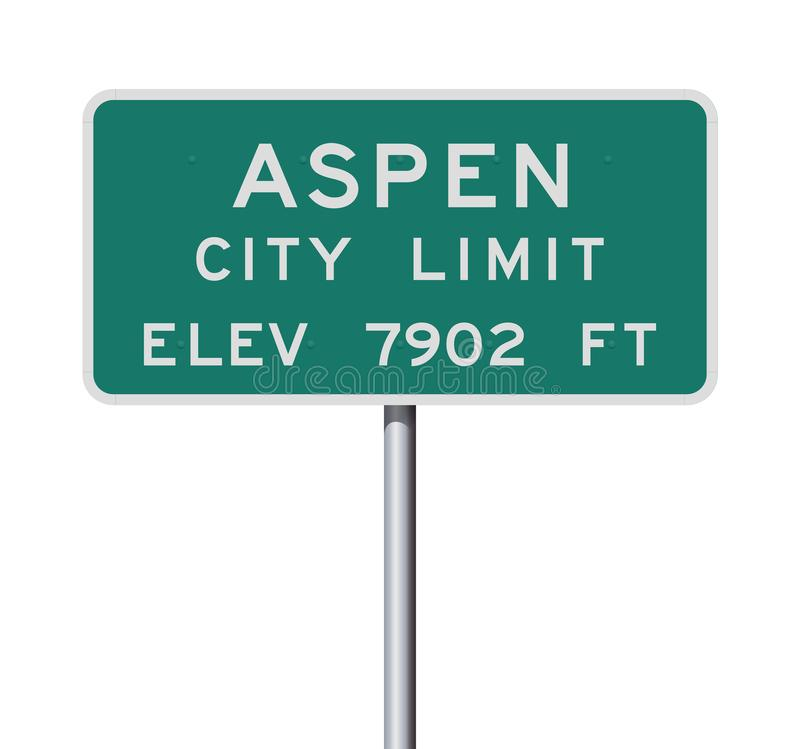 Aspen City Limit road sign. Vector illustration of the Aspen City Limits green road sign stock illustration