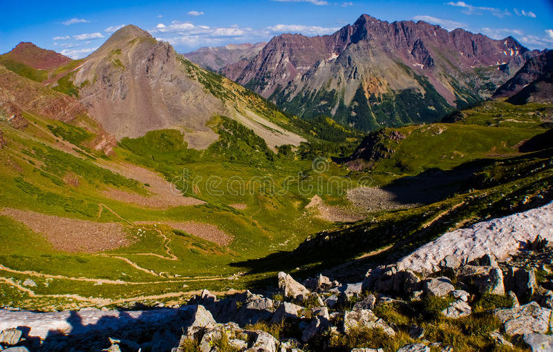 Aspen Colorado Elk Mountain Range Castle Peak Snowmass Wilderness. High altitude peaks and deep valleys in the colorado mountain area. extremely long trail royalty free stock photos