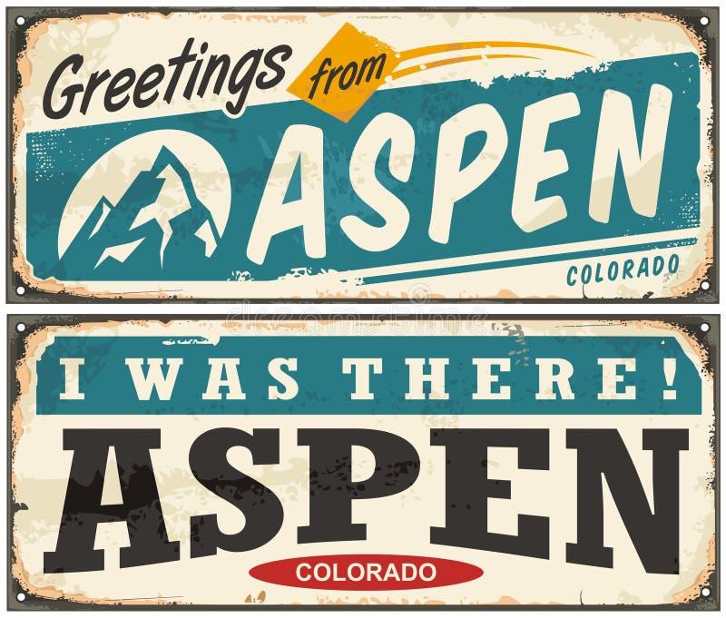 Aspen Colorado retro metal sign. Set with popular winter vacation destination. Vector illustration stock illustration