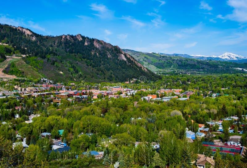 Aspen Colorado van hierboven royalty-vrije stock afbeelding
