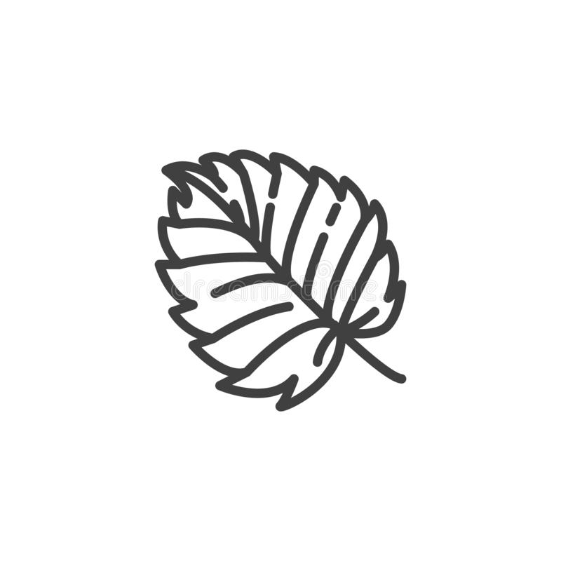 Aspen leaf line icon. Linear style sign for mobile concept and web design. Tree leaf foliage outline vector icon. Symbol, logo illustration. Vector graphics royalty free illustration