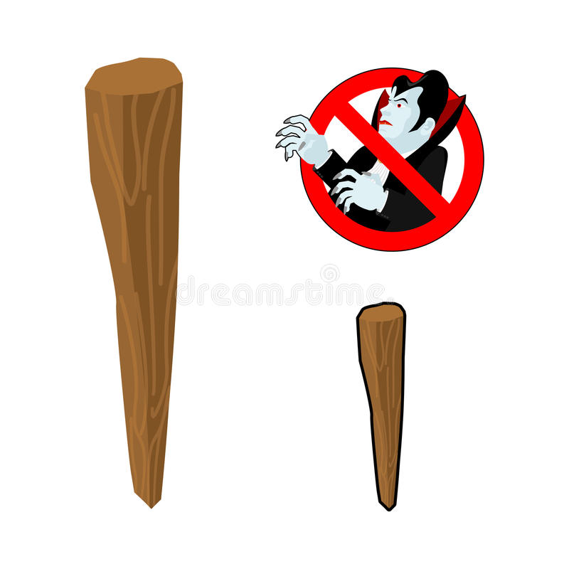Aspen stake against vampires. Stop Dracula. Anti Vampire tool. D. Estruction and extermination of ghoul. Elimination of undead vector illustration