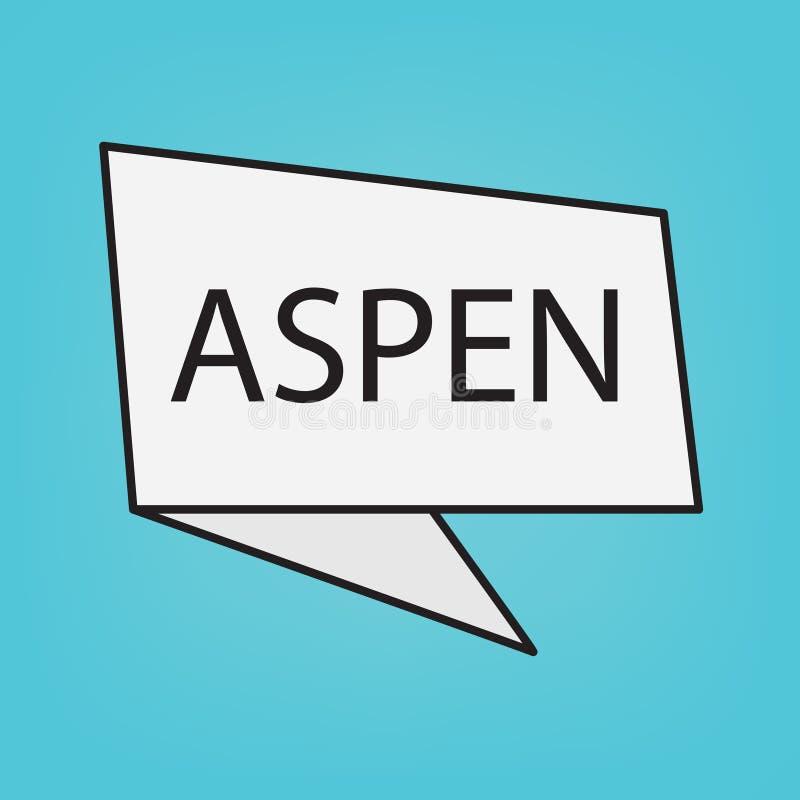 Aspen word on a sticker. Vector illustration stock illustration