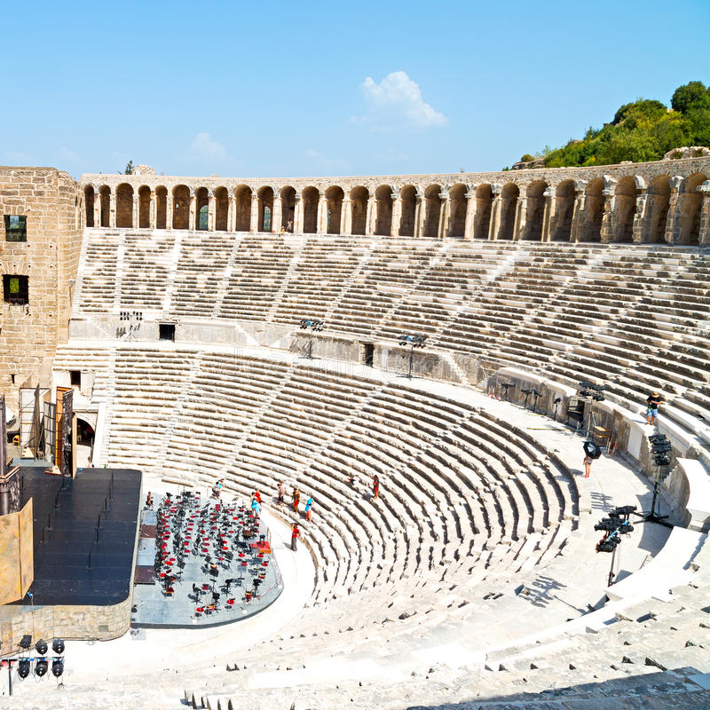 aspendos and broken in turkey europe the old theatre abstrac royalty free stock images