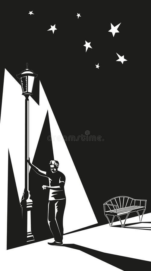 Aspettativa vicino ad una lanterna royalty illustrazione gratis
