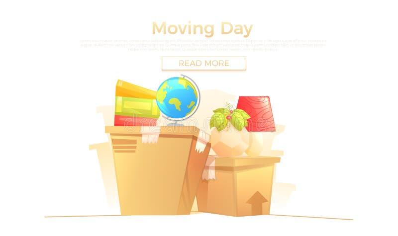 Aspetti il movimento al concetto dell'insegna della nuova casa La scatola e la mobilia è giri per il giorno commovente Illustrazi royalty illustrazione gratis