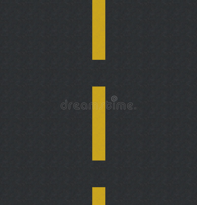 Asphalt. Computer generated road with yellow lines and asphalt texture stock illustration
