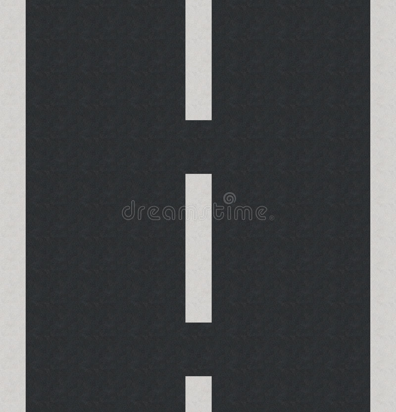Asphalt. Computer generated road with white lines and asphalt texture royalty free illustration