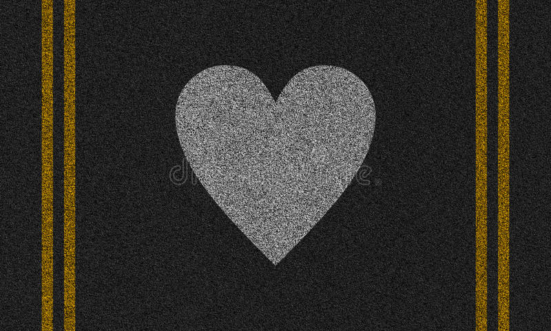 Asphalt background with painted heart royalty free stock photos