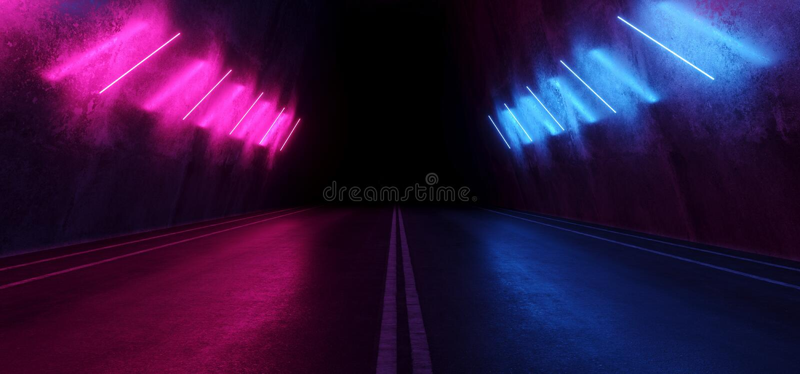 Asphalt Cement Road Double Lined Sci Fi Futuristic  Concrete Walls Underground Dark Night Car Show Neon Laser Led Lights Glowing. Purple Blue Arc Virtual Stage stock illustration
