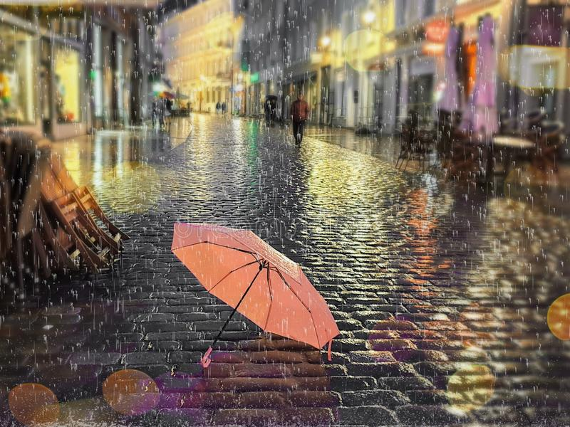 Rainy street pink umbrella reflection wet asphalt city night raindrops water reflection autumn leaves  fall season city evening li. Asphalt city night raindrops royalty free stock images