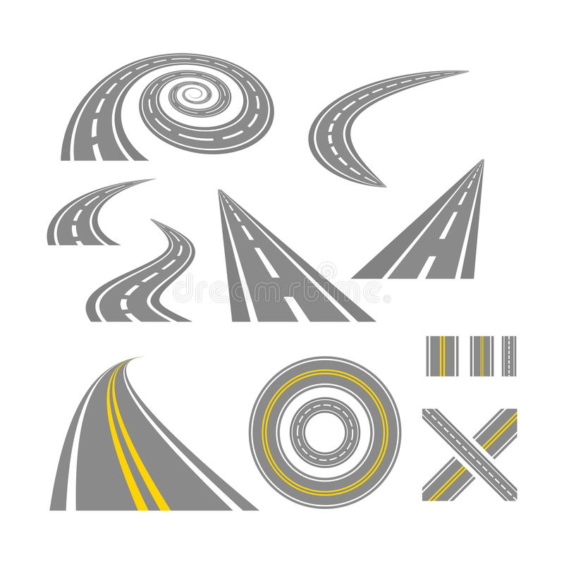 Asphalt curved roads. Highway vector illustration set royalty free illustration