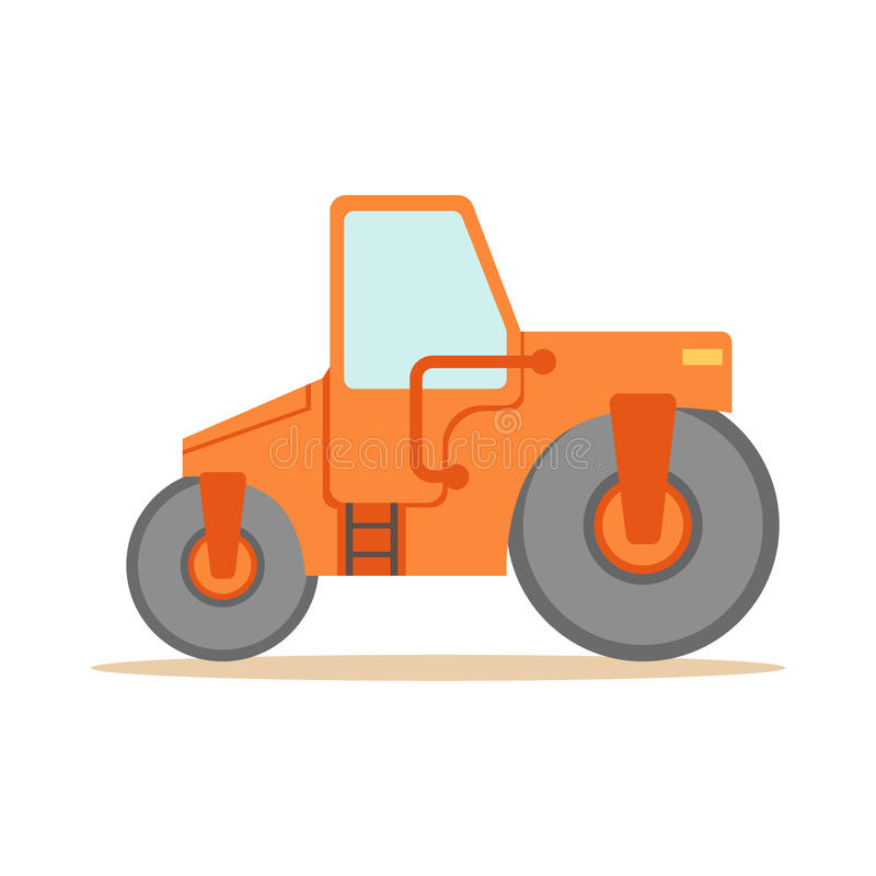Asphalt Finisher Road Machine , Part Of Roadworks And Construction Site Series Of Vector Illustrations. Flat Cartoon Drawings With Professional City Streets vector illustration