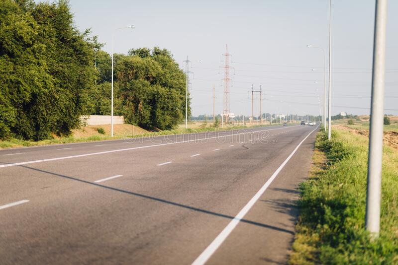 Asphalt highway near Dnipro sity in the summer. stock photo