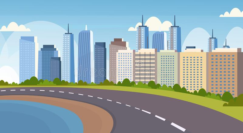 Asphalt highway road between river and beautiful city panorama high skyscrapers cityscape background skyline flat. Horizontal banner vector illustration stock illustration