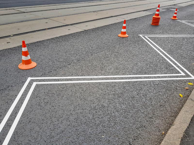 Paper tape on the pavement as a road marking stock photography