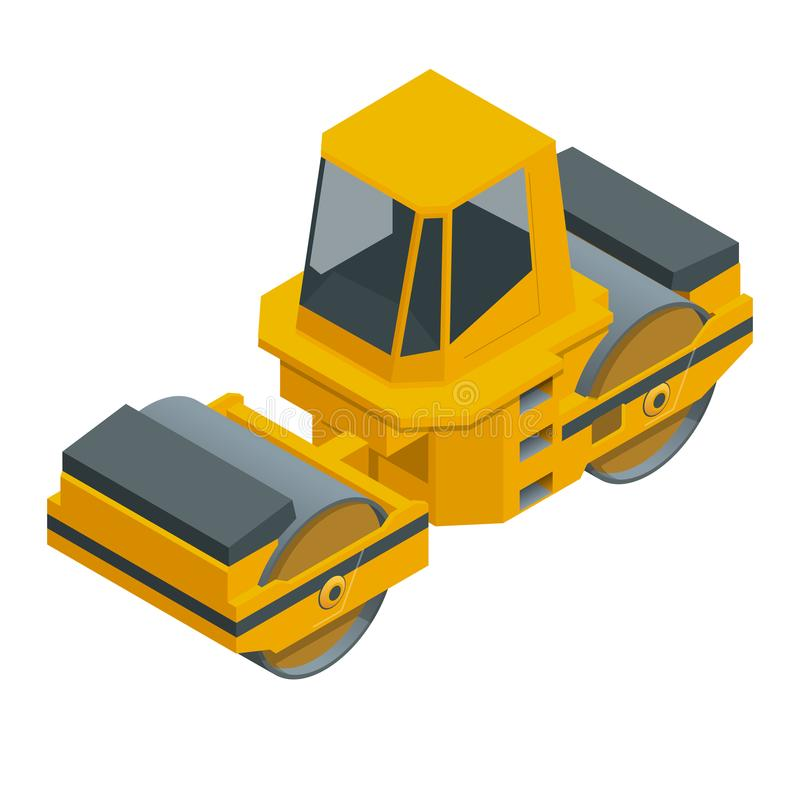 Asphalt Paver isométrique de couleur orange roule l'asphalte noir pour une route Rouleaux de route sous le fond blanc illustration libre de droits