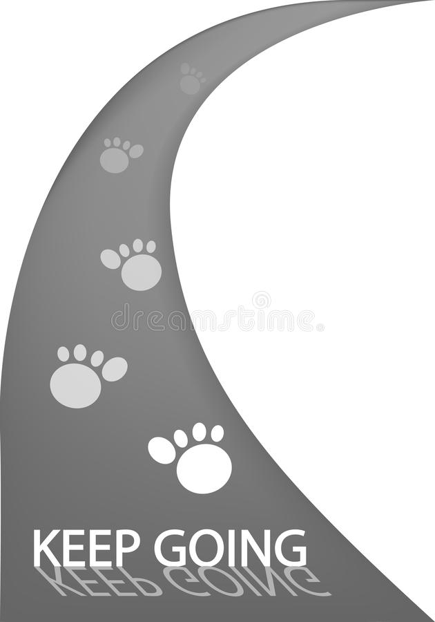 Download Asphalt Road With Animal Tracks And Word Keep Goin Stock Vector - Image: 29121779