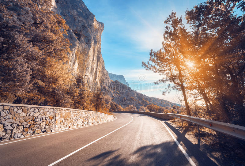 Asphalt road. Colorful landscape with beautiful winding mountain stock photos