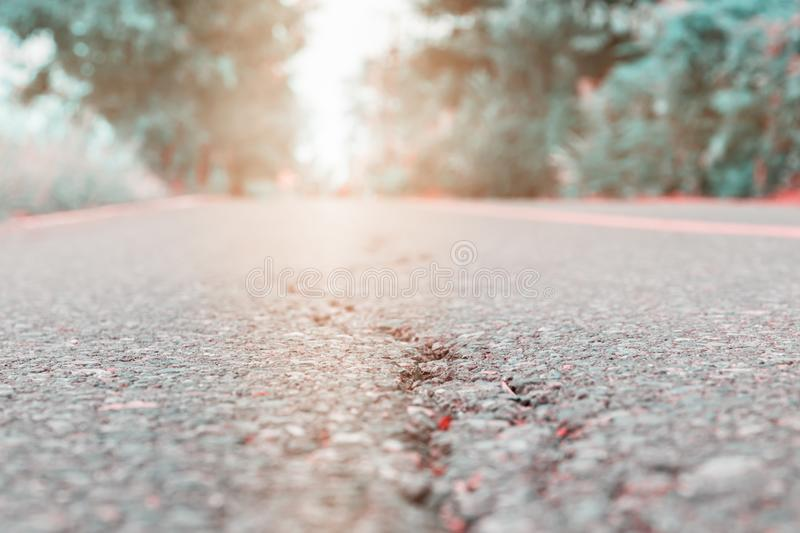 Asphalt road cracked. street highway countryside.  royalty free stock images