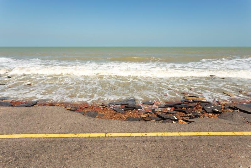 Asphalt road damaged stock images