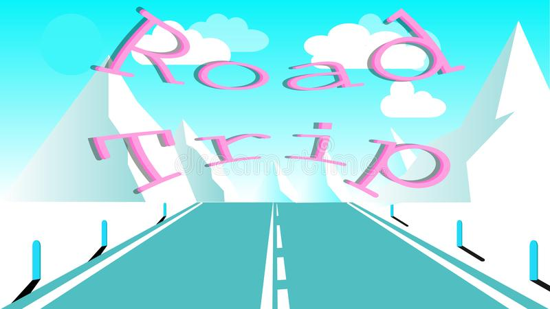 Asphalt road with a dividing strip for travel to the high rocky mountains. Journey to the mountains by car inscription road trip stock illustration