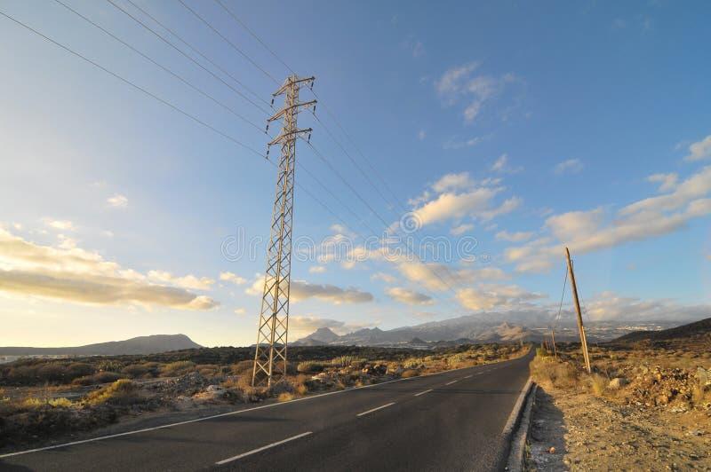 Asphalt Road En El Desierto Fotos de archivo