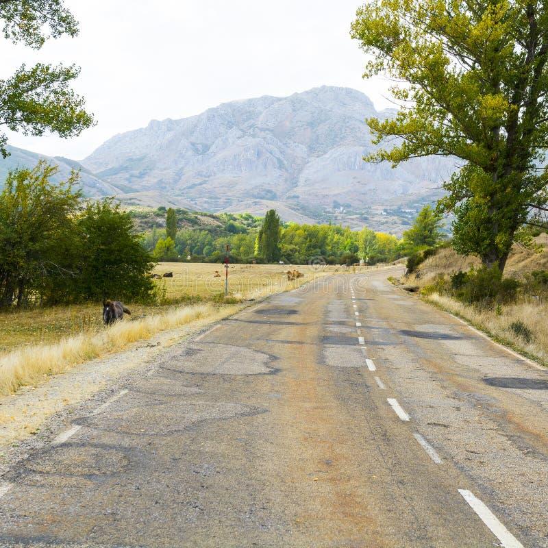 Asphalt Road en España imagenes de archivo