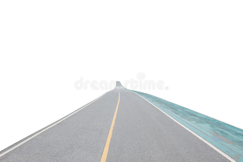 Asphalt road and exercise bike road isolated on white background. With clipping path stock images