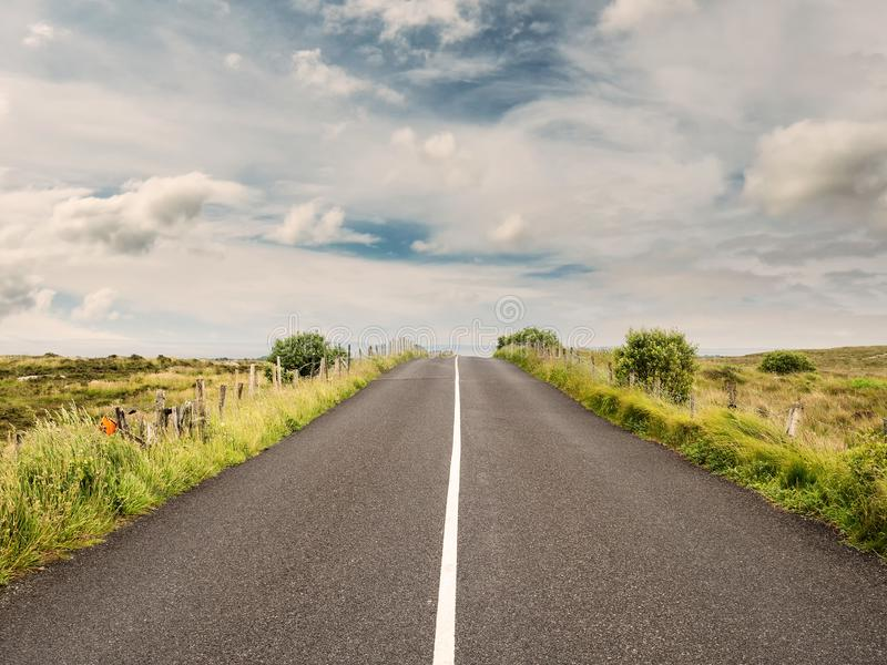 Asphalt road goes to horizon line, Colorful cloudy sky. Green fields on each side. White line stock images