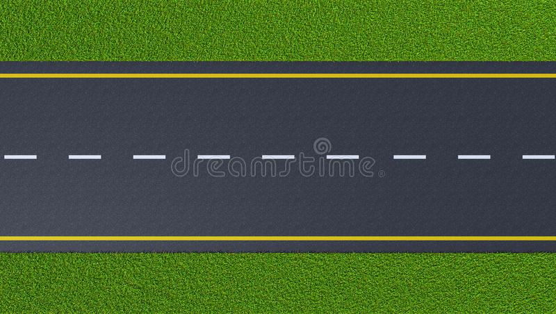Asphalt road on the green lawn. (top view stock illustration