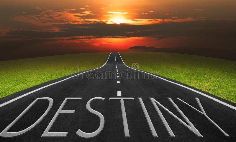 Asphalt road and landscape background with destiny words. Business concept photo royalty free stock image