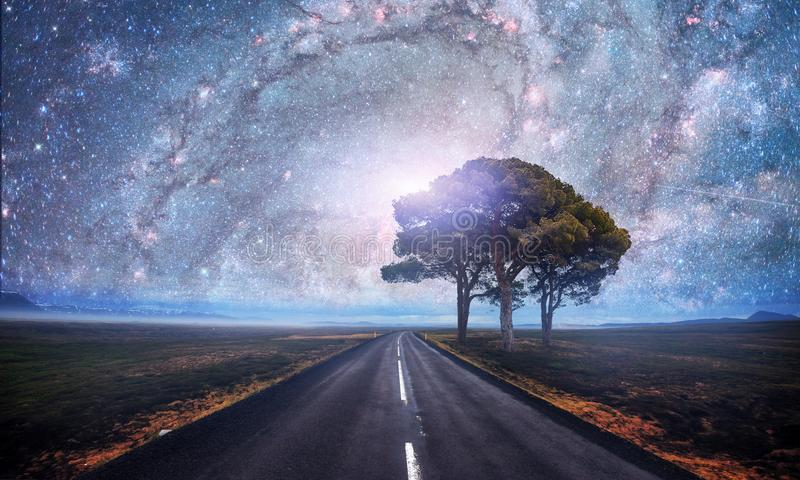 Asphalt road and lonely tree under a starry night sky and the Milky Way. Courtesy of NASA royalty free stock photo