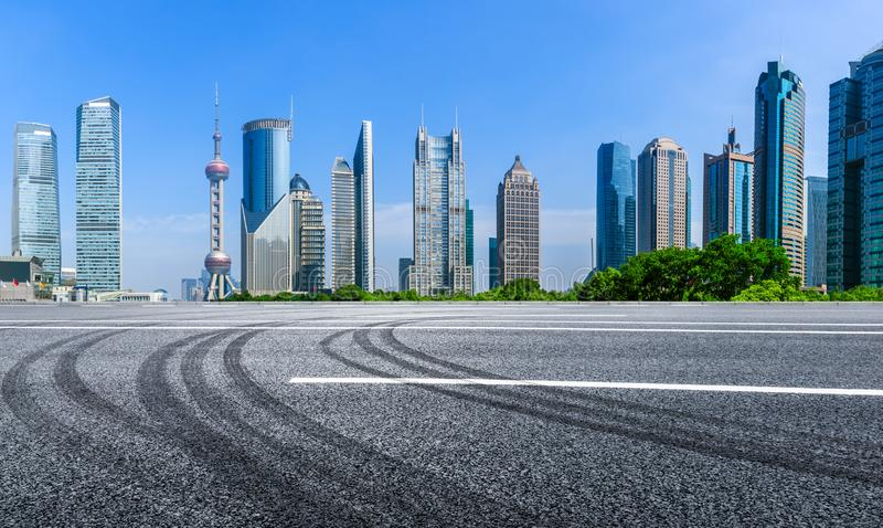 Asphalt road in lujiazui Commercial financial center,Shanghai. China royalty free stock photography