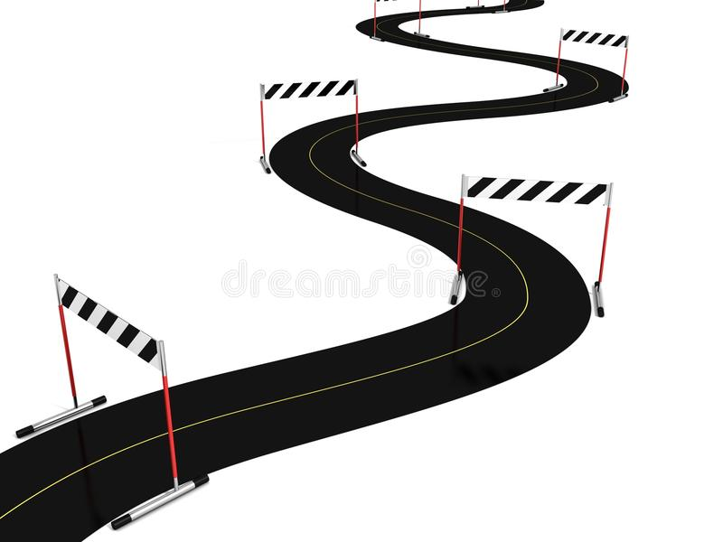 Download Asphalt Road With Many Hurdle Obstacle Barriers Stock Illustration - Image: 26035728