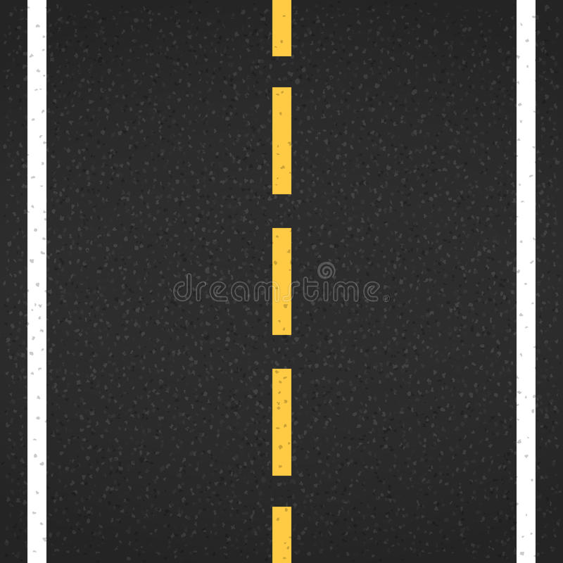 Asphalt Road. With markings, top view stock illustration