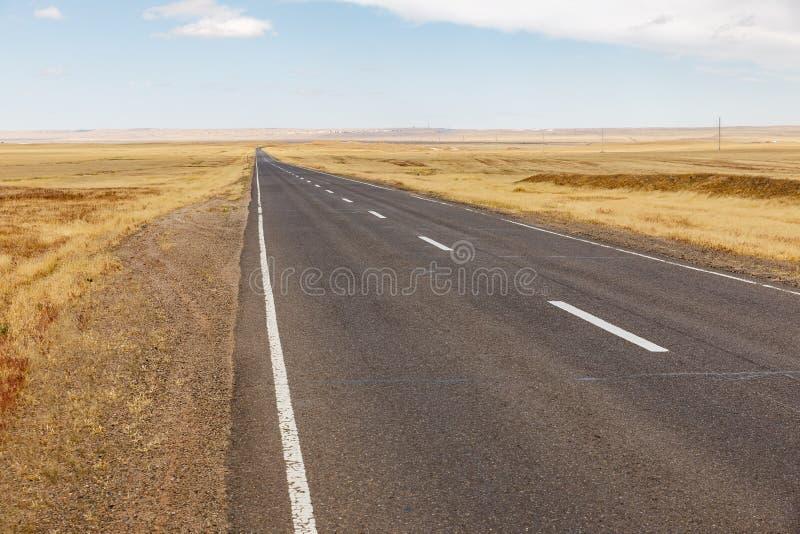 Asphalt road in Mongolia royalty free stock photo
