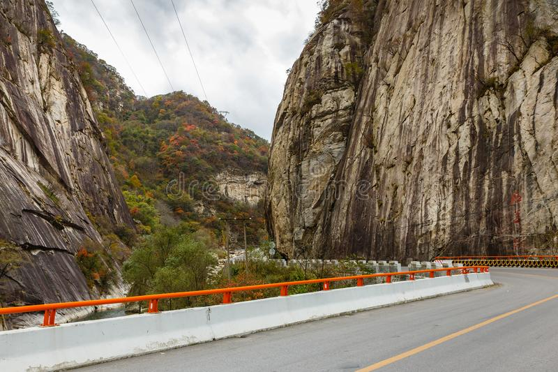 Asphalt road in the mountains stock images